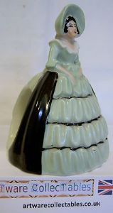 Carlton Ware Crinoline Lady Napkin Holder Green Dress Figurine - 1930s - SOLD